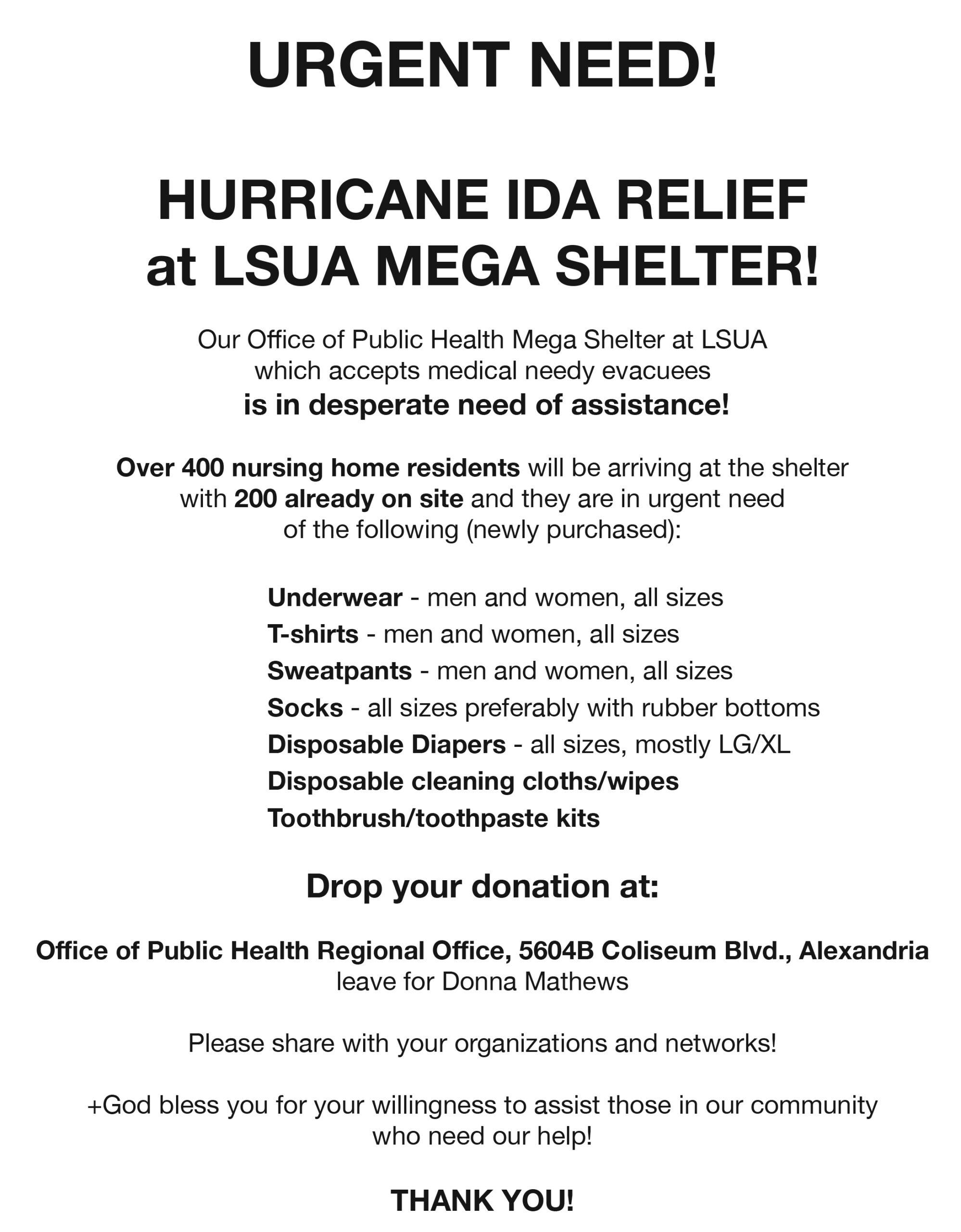 Hurricane Ida relief flyer